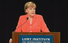 Angela Merkelová vystoupila na sympoziu v australském Lowyho institutu