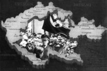 Sudetští Němci děkují Adolfu Hitlerovi. Okupované Československo