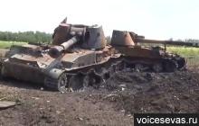 Zničené samohybné dělo ráže 152 milimetrů Akacia Ukrajinské armády